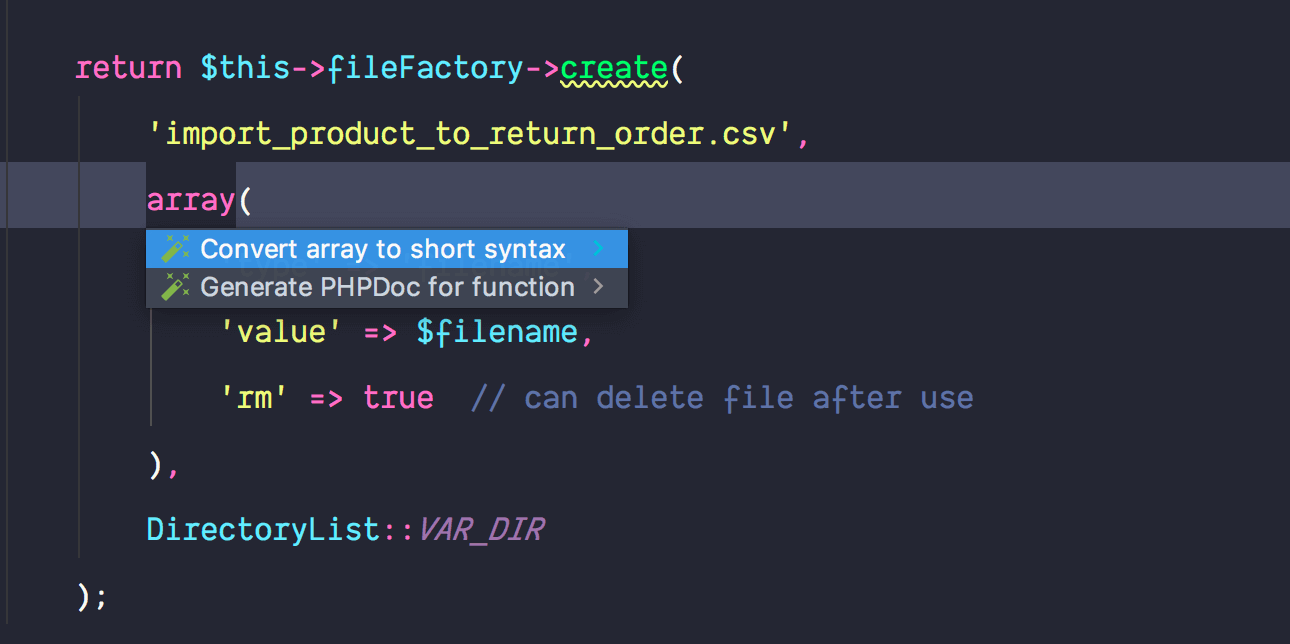 Convert array to short syntax